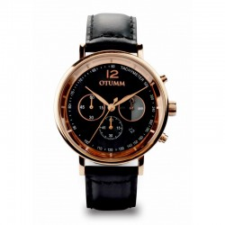 Otumm Leather Rose Gold Chrono Black strap
