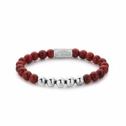 Rebel & Rose bracelet Red Delight silver color 6mm