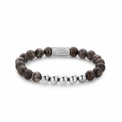 Rebel & Rose armband Brown Sugar silver color 8mm