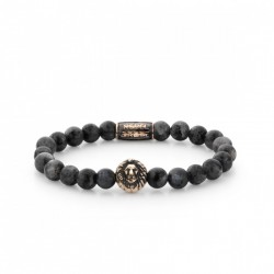 Rebel & Rose Lion Head armband Grey Seduction Rose Gold color