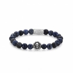 Rebel & Rose Lion Head armband Midnight Blue Silver color