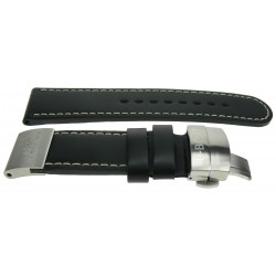 U-Boat strap 24mm black/steel plate
