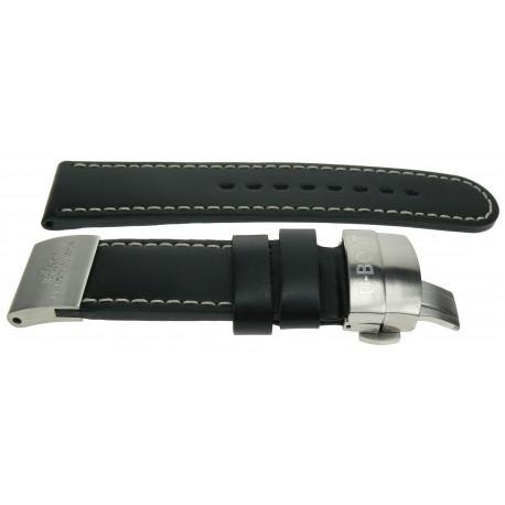 Strap U Boat Black Leather Plate 23mm 2012 Calf Steel zVUMpS