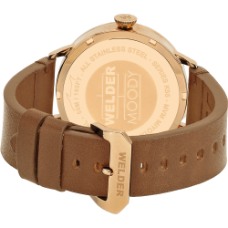 Welder Moody WRC313 45mm Rose Gold Case Leather Light Brown Strap