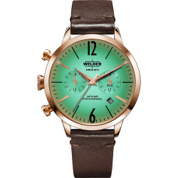 Welder Moody WWRC104 38mm Rose Gold Case Leather Dark Brown Strap