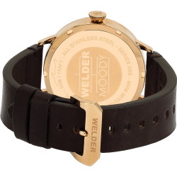 Welder Moody WRC201 42mm Rose Gold Case Leather Dark Brown Strap