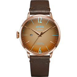 Welder Moody WRC309 45mm Rose Gold Case Leather Dark Brown Strap