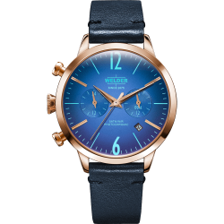Welder Moody WWRC106 38mm Rose Gold Case Leather Blue Strap