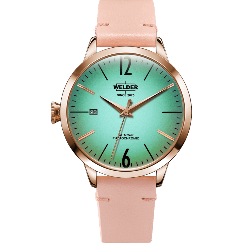 Welder Moody WRC107 38mm Rose Gold Case Leather Pink Strap