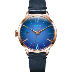 Welder Moody WRC108 38mm Rose Gold Case Leather Blue Strap