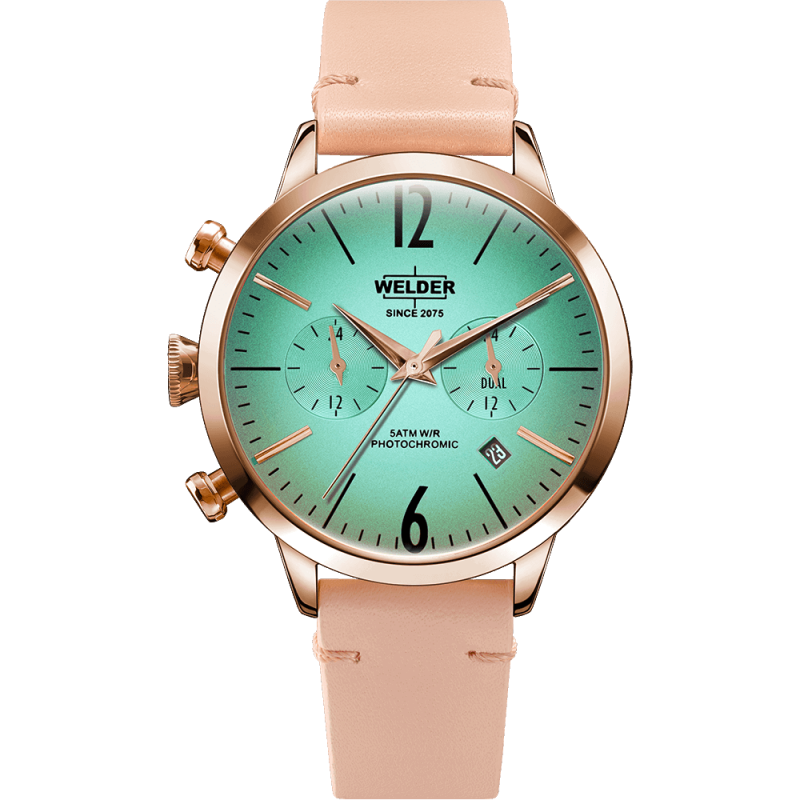 Welder Moody WWRC100 38mm Rose Gold Case Leather Pink Strap
