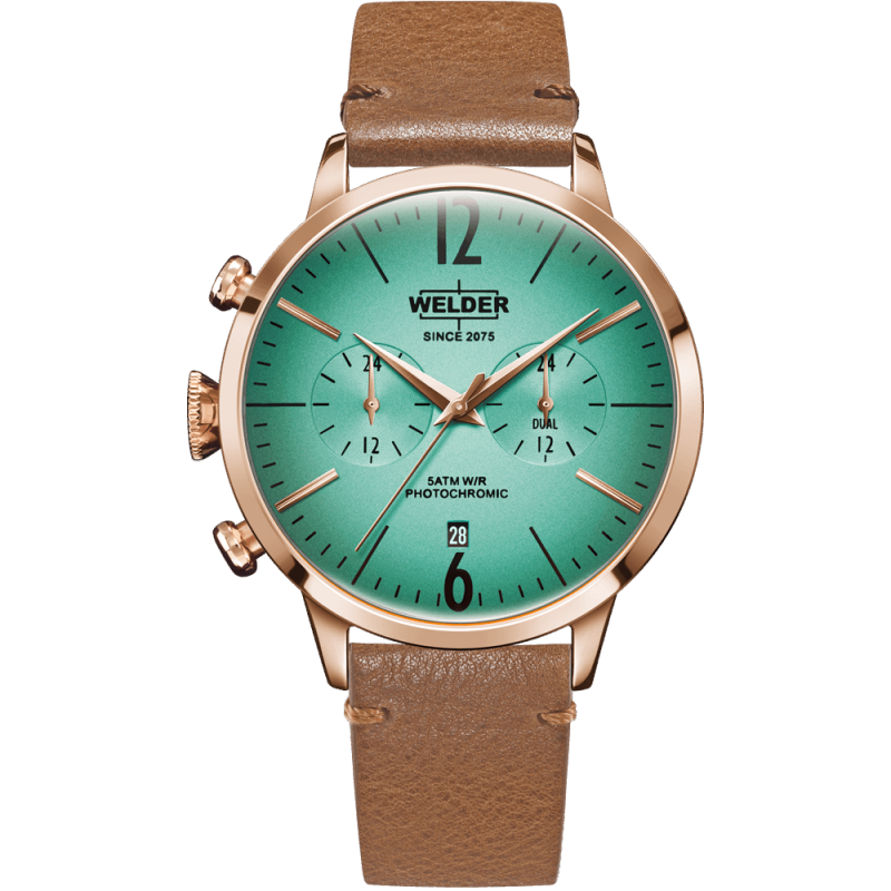 Welder Moody WWRC211 42mm Rose Gold Case Leather Light Brown Strap