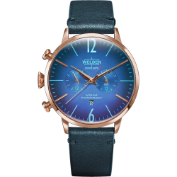 Welder Moody WWRC305 45mm Rose Gold Case Leather Blue Strap