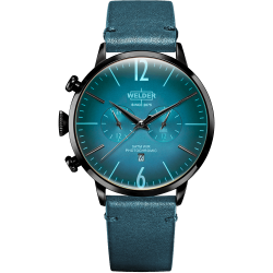 Welder Moody WWRC308 45mm Black Case Leather Petroleum Blue Strap