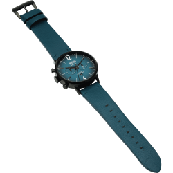 Welder Moody WWRC308 45mm Black Case Leather Petroleum Blue Strap