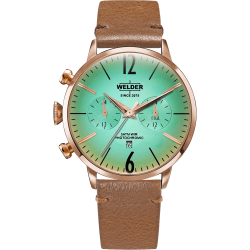 Welder Moody WWRC312 45mm Rose Gold Case Leather Light Brown Strap