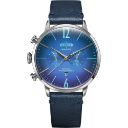Welder Moody WWRC303 45mm Steel Case Leather Blue Strap
