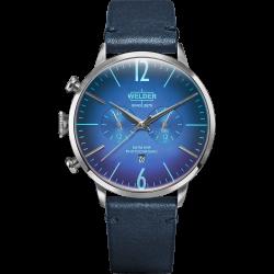 Welder Moody WWRC303 45mm Steel Case Leather Blue Strap
