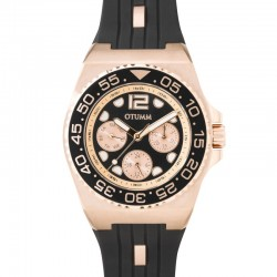 Otumm Sea Breeze Multi Function Rose Gold Black Strap 40mm