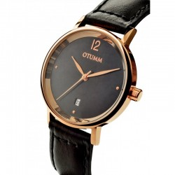 Otumm Mesh Leather Lady Rose Gold Black strap
