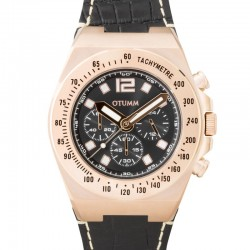 Otumm Athletics Chrono Leather Rose gold Black 45mm
