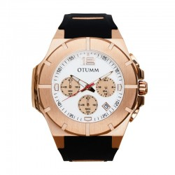 Otumm Speedster Rose Gold White Dial 45mm Balck Strap