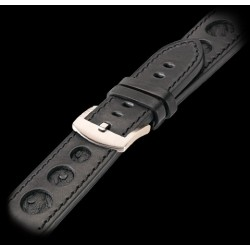 U-Boat 23mm Calf black ostrich inset Steel U-Strap 1259